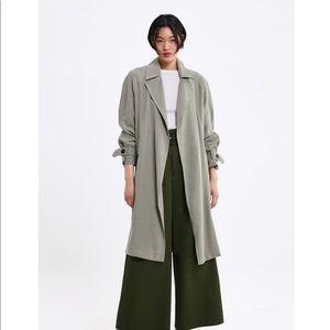 Zara Olive Flowy Duster Jacket
